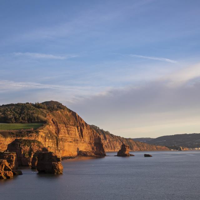 """Devon Coast Sunrise"" stock image"