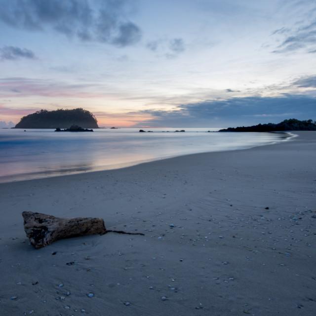 """""""Sunrise and Mount Maunganui"""" stock image"""