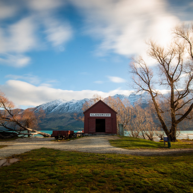 """Glenorchy Boat House"" stock image"