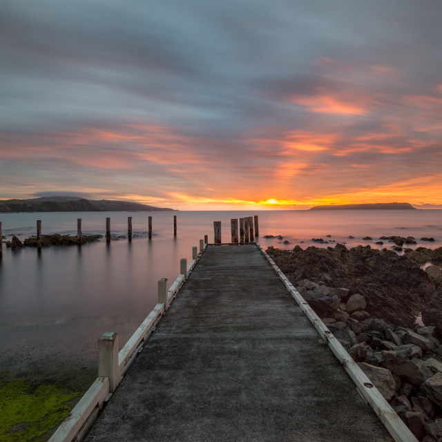 """Sunset at Plimmerton"" stock image"