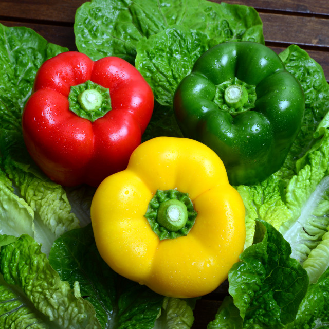 """Green, red and yellow capsicum"" stock image"
