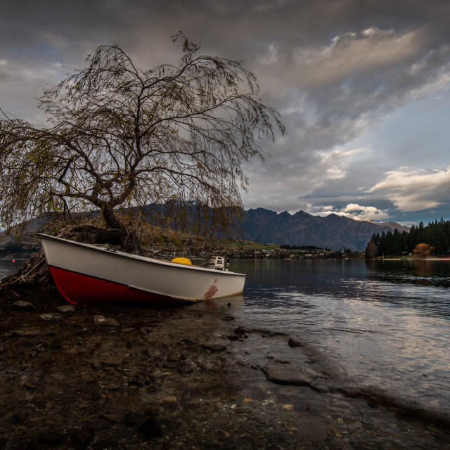 """Queenstown Waterfront Boat"" stock image"