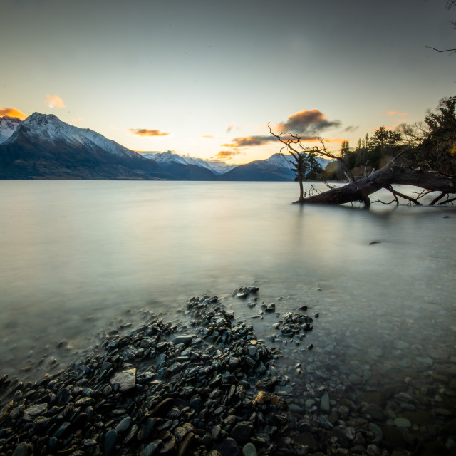 """Glenorchy Sunset"" stock image"