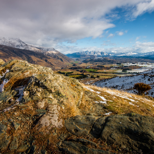 """Lookout over Queenstown"" stock image"