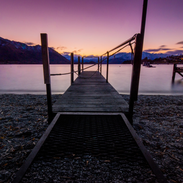 """Wanaka Waterfront at Sunset"" stock image"