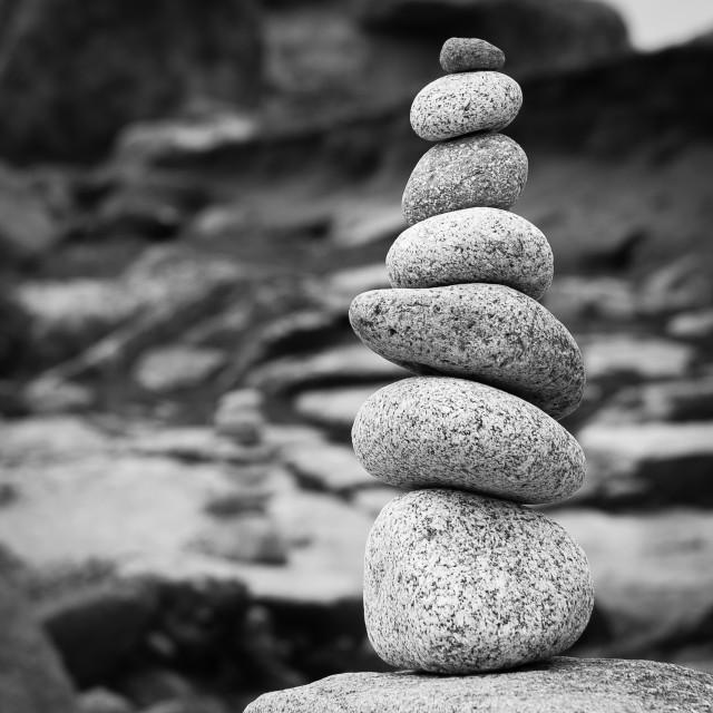 """Seven Stones Black and White"" stock image"