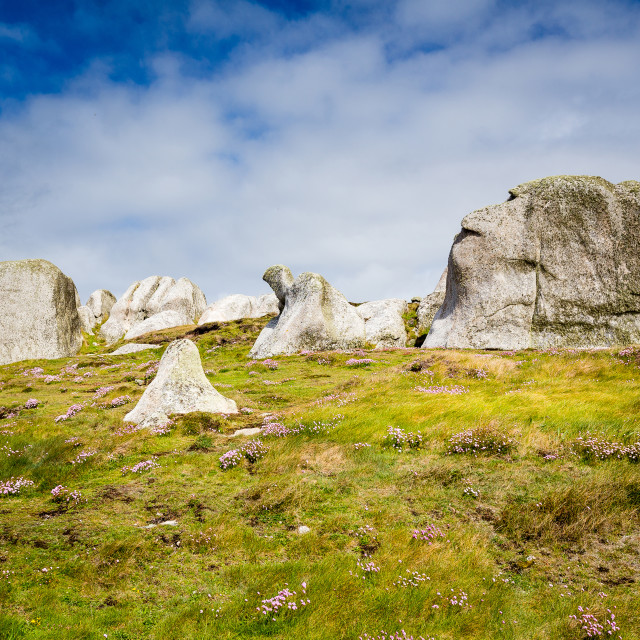 """""""Faces In the Rocks - Peninnis Head"""" stock image"""