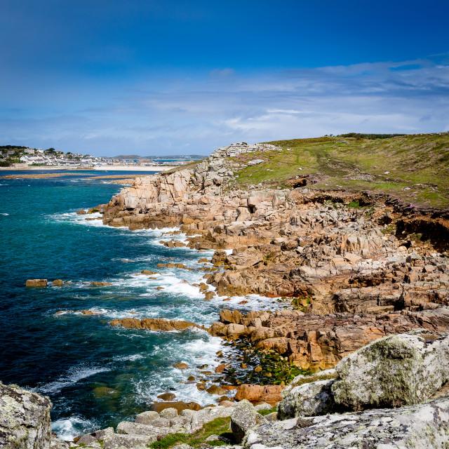 """Peninnis Head - Looking Towards Porthcressa Beach"" stock image"