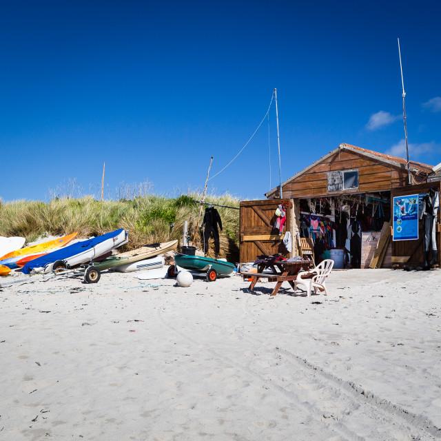 """""""Porthmellon Beach - Boat Hire"""" stock image"""