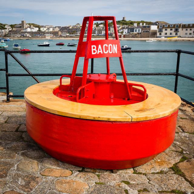 """""""Bacon - Buoy on St Marys Harbour Wall"""" stock image"""