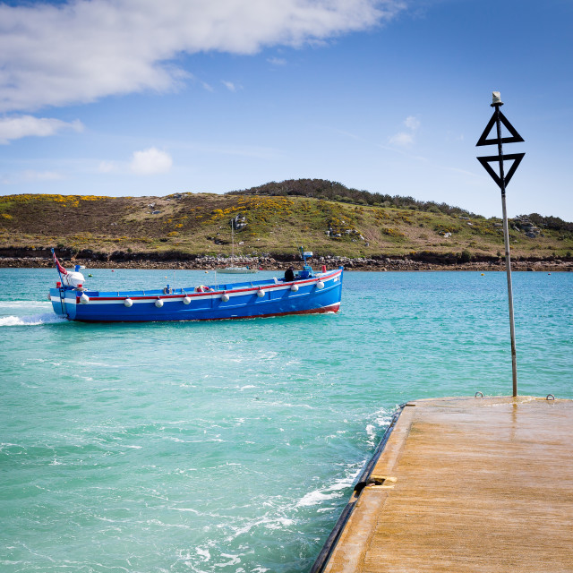 """""""Day Tripper Boat Leaving Bryher"""" stock image"""
