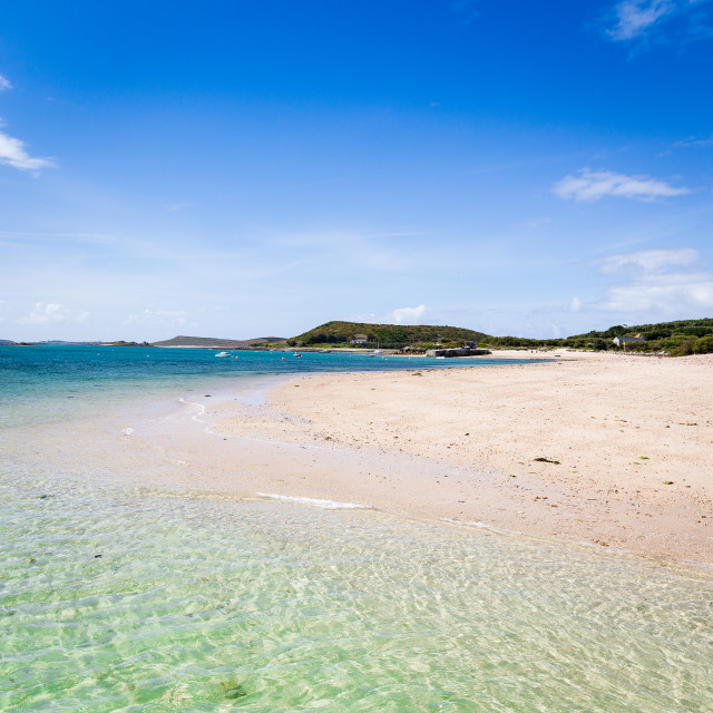 """""""Looking Towards the Old Quay and Church on Bryher"""" stock image"""
