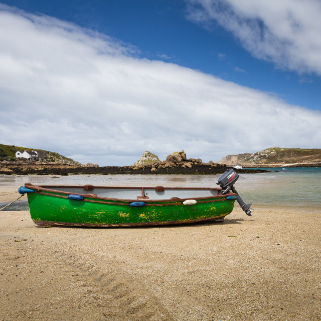 """""""Boat on Beach - Bryher"""" stock image"""
