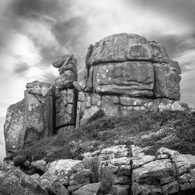 """Camel Rock - Porth Hellick Bay"" stock image"