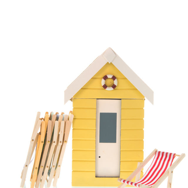 """Beach chairs and hut"" stock image"