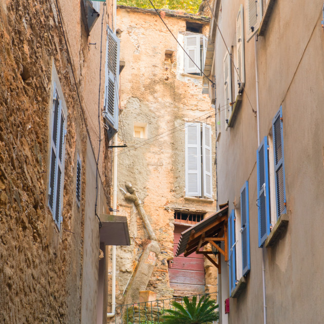 """Little lane French village Casinca"" stock image"