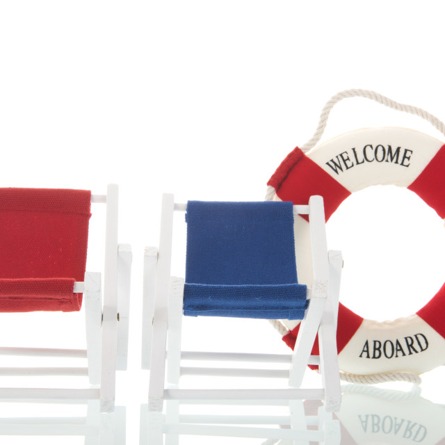 """""""Deck chairs and life buoy"""" stock image"""
