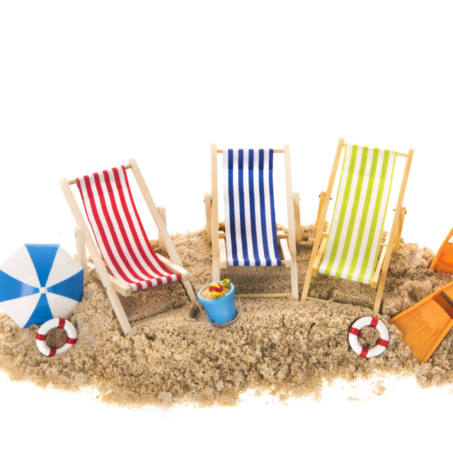"""""""Beach chairs in sand"""" stock image"""