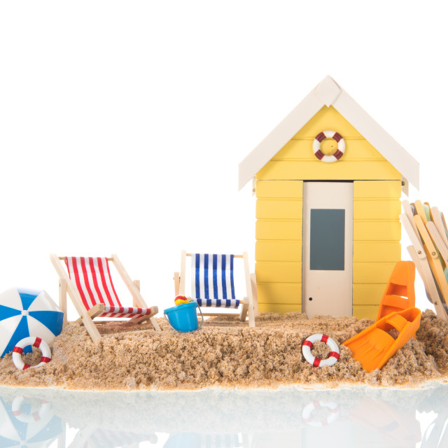 """""""Beach chairs and hut in sand"""" stock image"""
