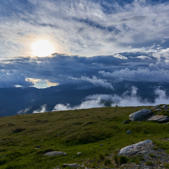 """""""Summer landscape with mountains"""" stock image"""