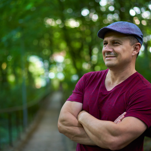 """""""Handsome man in hat and tee"""" stock image"""
