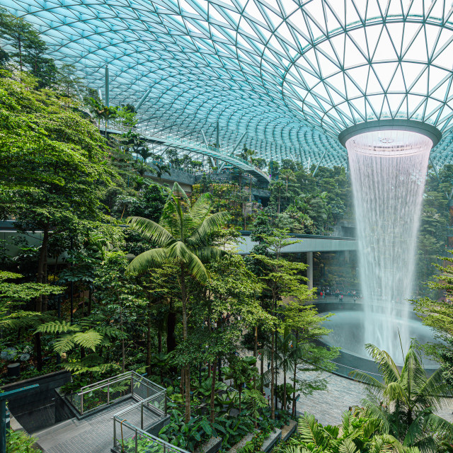 """""""Jewel Changi Airport in Singapore, a glass dome with indoor waterfall and..."""" stock image"""