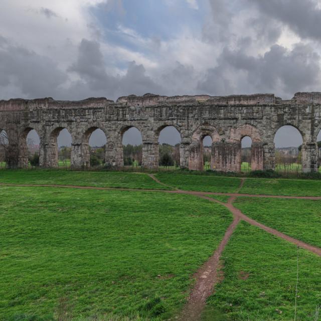 """""""Ruins of Roman aqueduct Aqua Claudia in Parco degli Acquedotti park, Rome, Italy"""" stock image"""