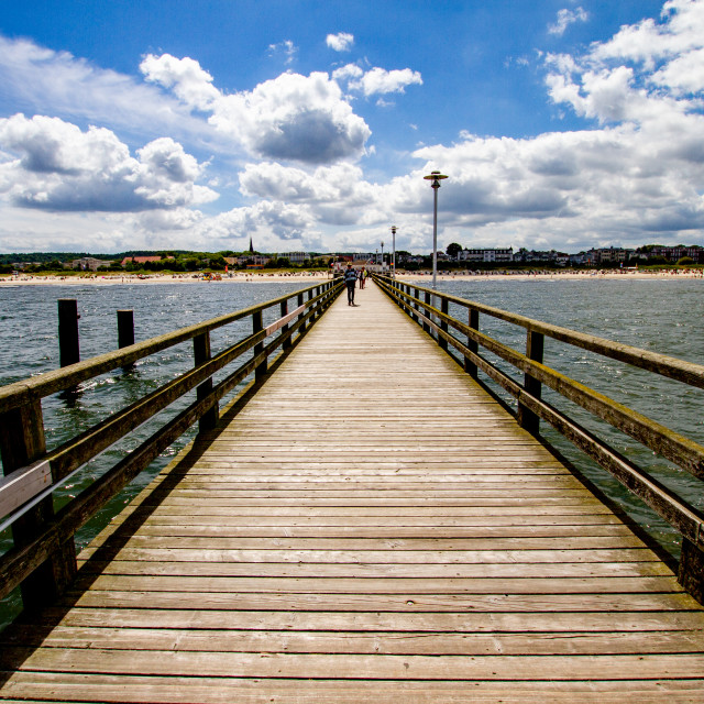 """""""Photographs of Ahlbeck a Seaside Resort on the Baltic Sea Coast, Germany. View inland from the wooden pier."""" stock image"""