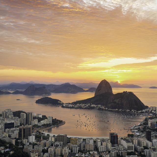 """Stunning sunrise at Mirante Dona Marta"" stock image"