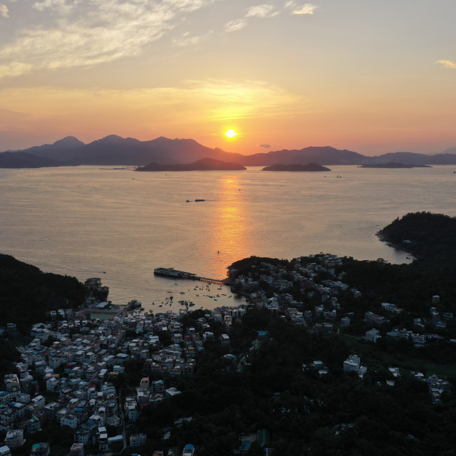 """""""Aerial sunset over Yung Shue Wan"""" stock image"""