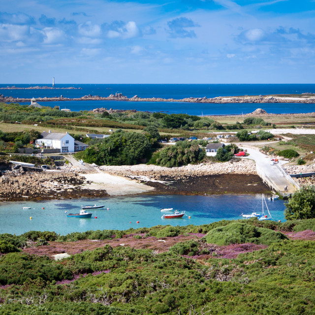 """""""Looking from Gugh to the Quay at St Agnes"""" stock image"""