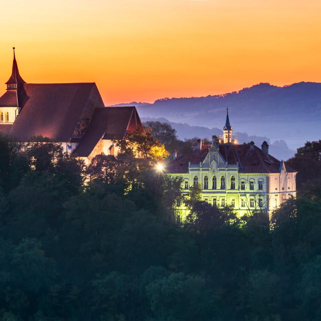 """""""Sighisoara, Romania, autumn sunset in Transylvania"""" stock image"""