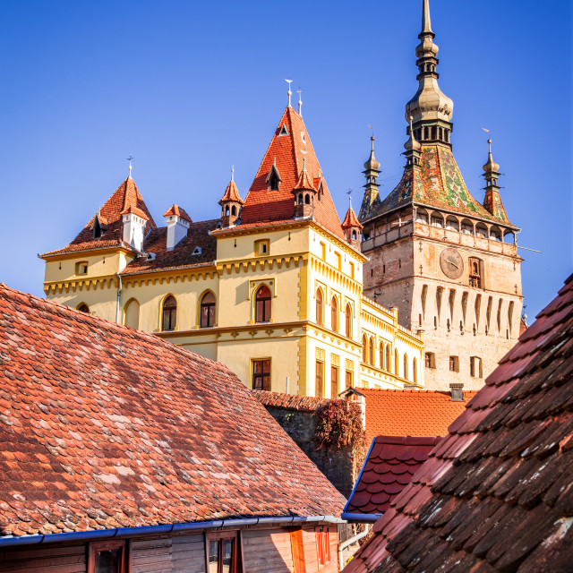 """Sighisoara, Romania, Transylvania - The Clock Tower"" stock image"