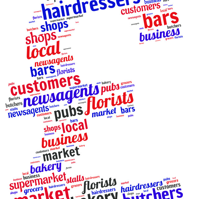 """""""Illustration of a word cloud representing high street shops"""" stock image"""