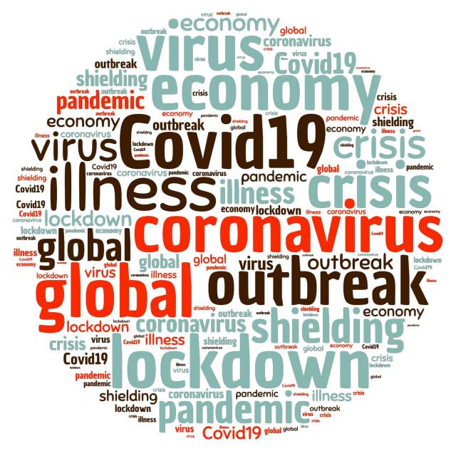 """Illustration of a word cloud representing coronavirus"" stock image"