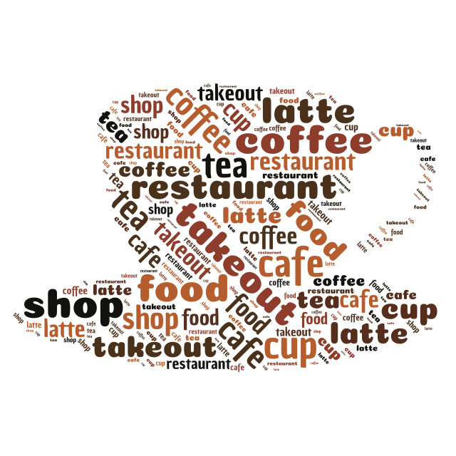 """""""Word cloud representing coffee shops"""" stock image"""