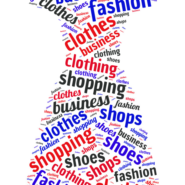 """""""Illustration of a word cloud representing clothes"""" stock image"""