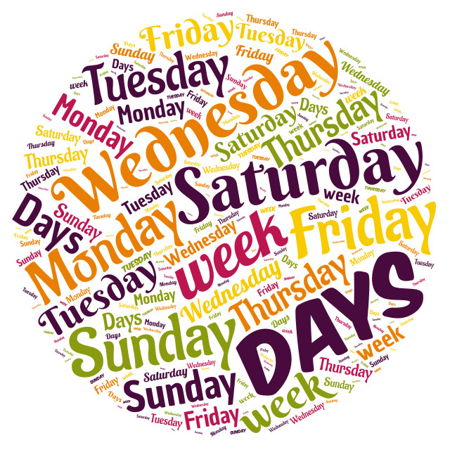 """""""Illustration of a word cloud representing days of the week"""" stock image"""