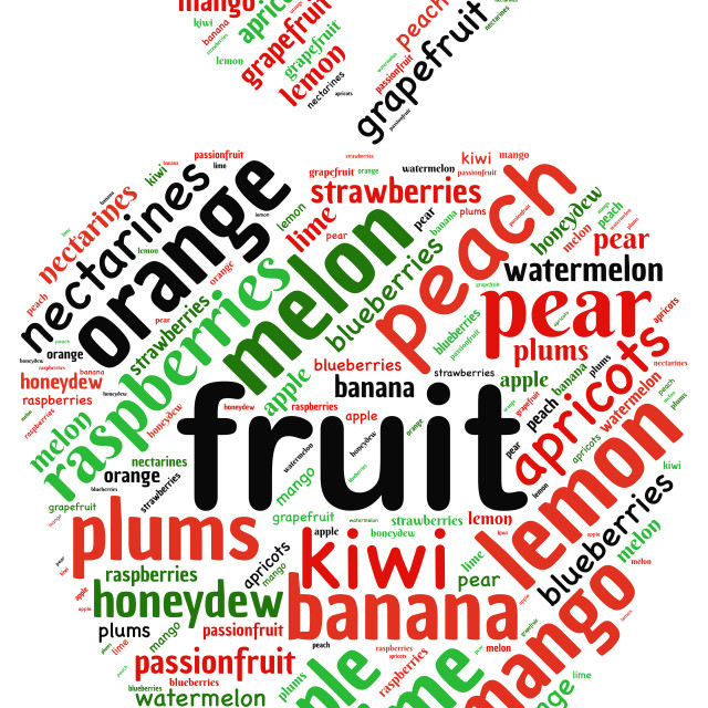 """""""Word cloud representing different fruits"""" stock image"""