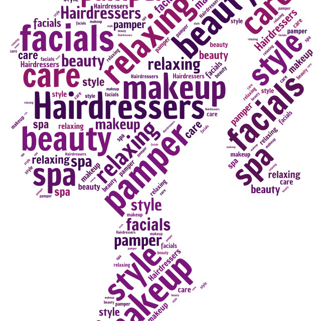 """""""Word cloud representing the beauty industry"""" stock image"""