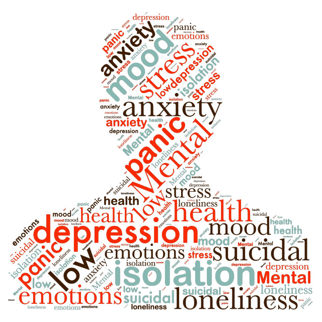 """""""Illustration of a word cloud with words representing mental heal"""" stock image"""