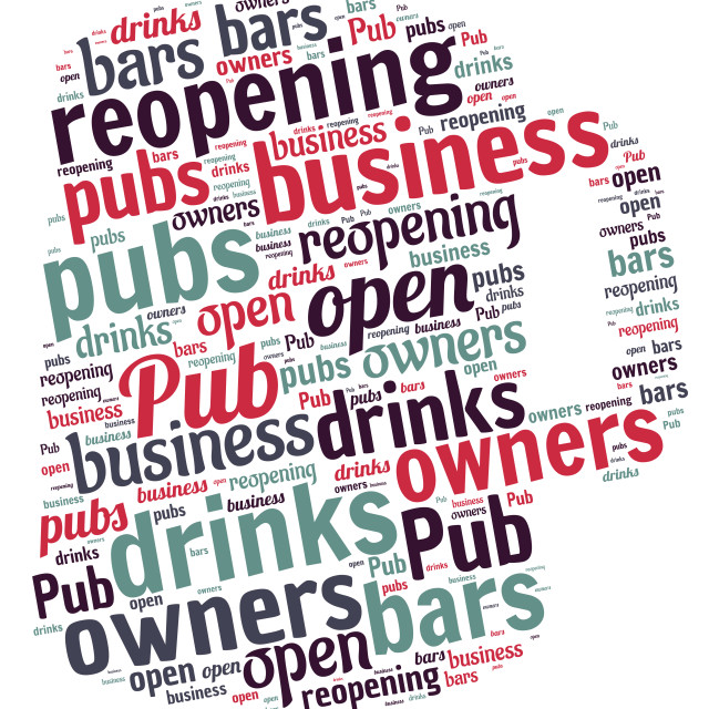 """""""Illustration of a word cloud representing pubs reopening"""" stock image"""