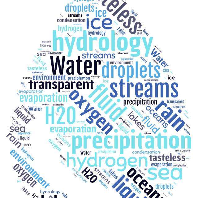 """""""Illustration of a word cloud representing water"""" stock image"""