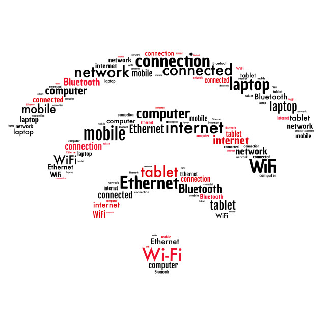 """""""Illustration of a word cloud representing Wi-Fi communications"""" stock image"""