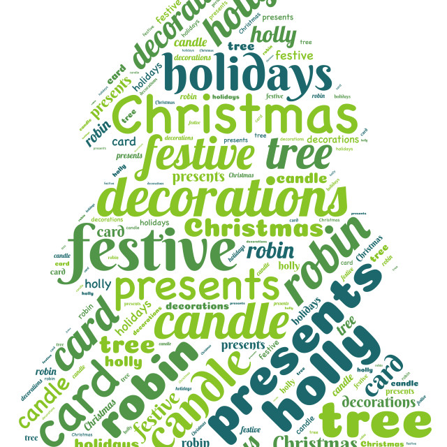 """""""Illustration of a word cloud representing Christmas"""" stock image"""
