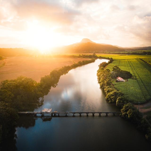 """River Sunset"" stock image"