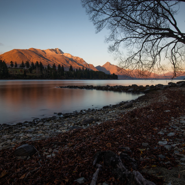 """Sunrise in Queenstown"" stock image"