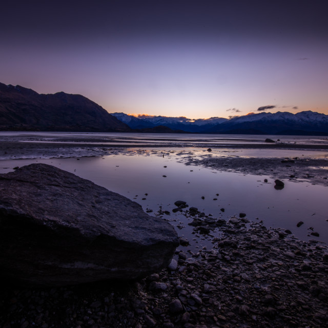 """Sunset at Wanaka"" stock image"