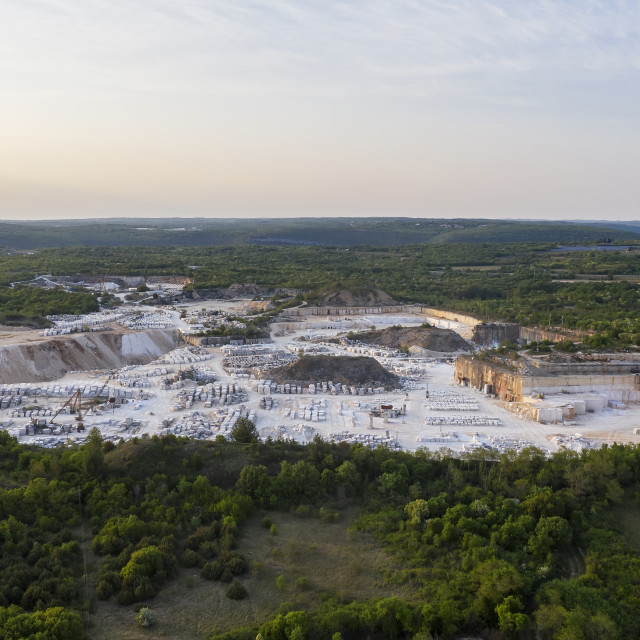 """""""An aerial view of quarry at dusk"""" stock image"""