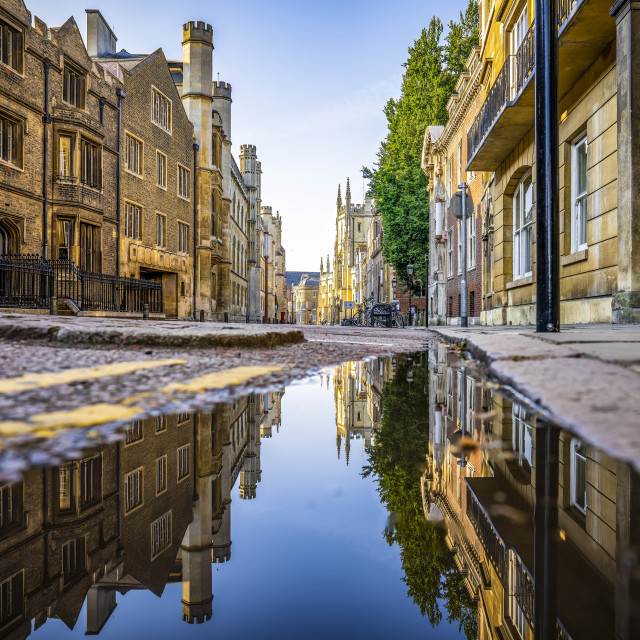 """Reflections from Trumpington Street, Cambridge UK."" stock image"